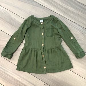 Carter's Army Green Tunic Top 2T Baby Girl